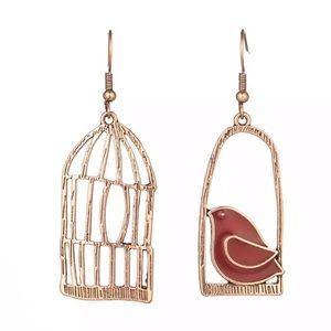 BOGO Bird & Bird Cage Asymmetrical Earrings Copper